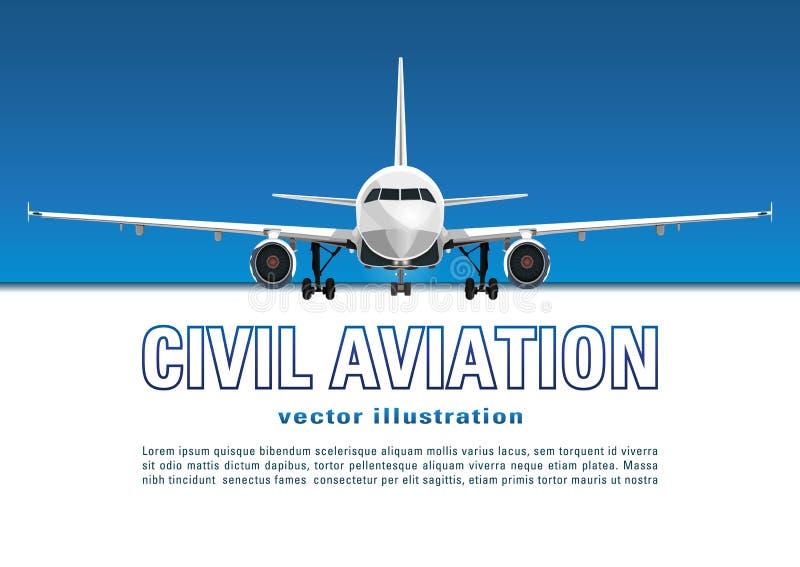 Vliegtuigenvector Banner, affiche, vlieger, kaart van vliegtuig tegen de achtergrond van de blauwe hemel en tekst op een witte ac stock illustratie