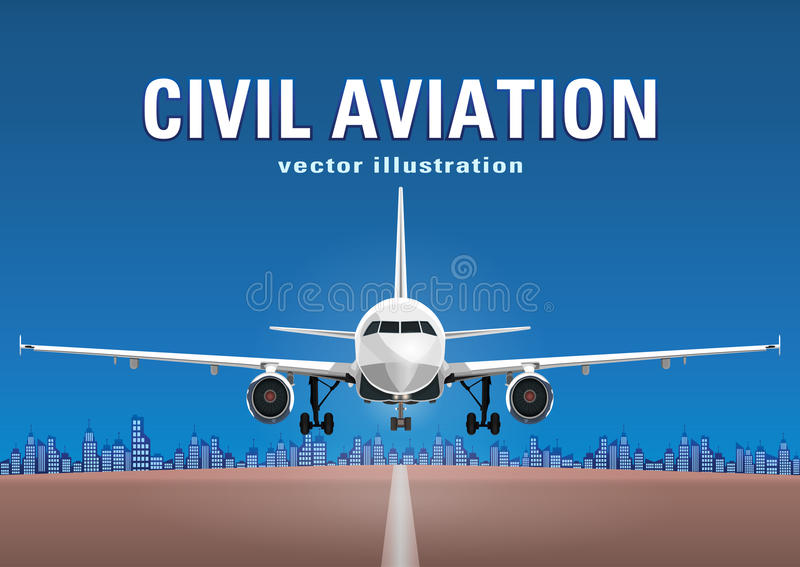 Vliegtuigenvector, startvliegtuig tegen de achtergrond van de blauwe hemel, stadshuizen en de baan, met ruimte voor tekst royalty-vrije illustratie