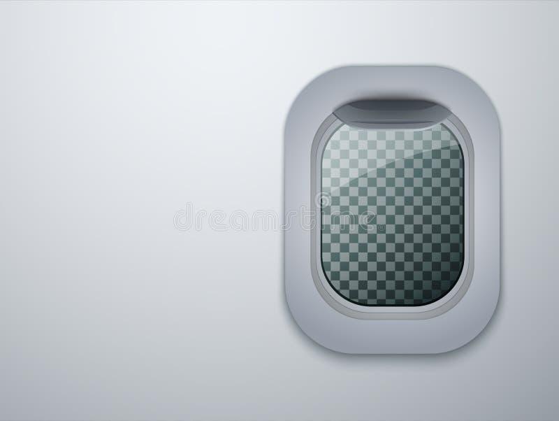 Vliegtuigenvenster Vliegtuigpatrijspoort met plaats voor uw tekst wordt geïsoleerd die Vector stock illustratie