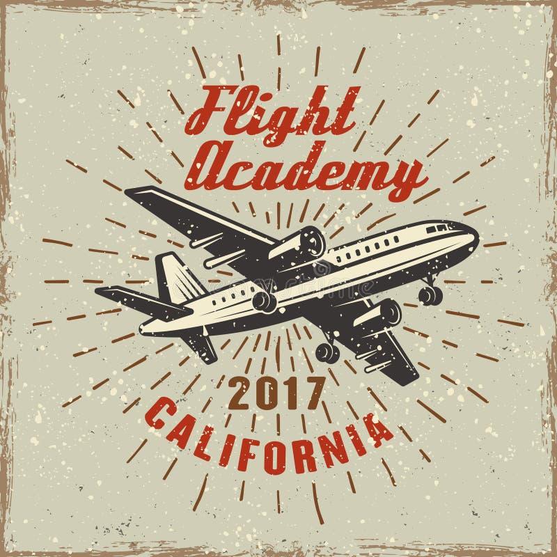 Vliegtuigetiket voor vliegende academieillustratie stock illustratie