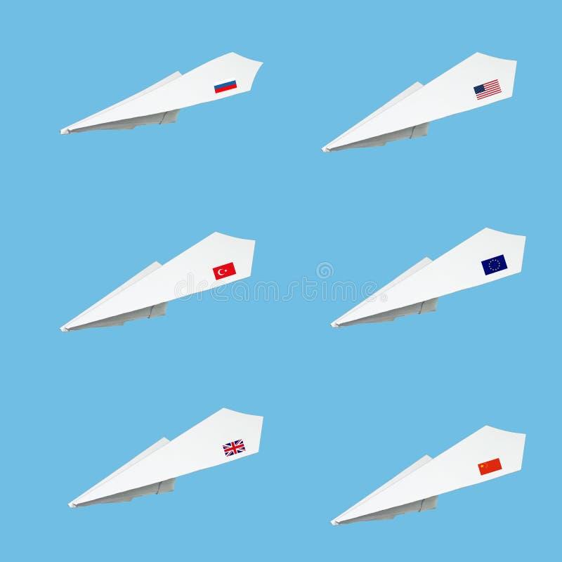 Vliegtuiginzameling van document met vlag wordt gemaakt die vector illustratie