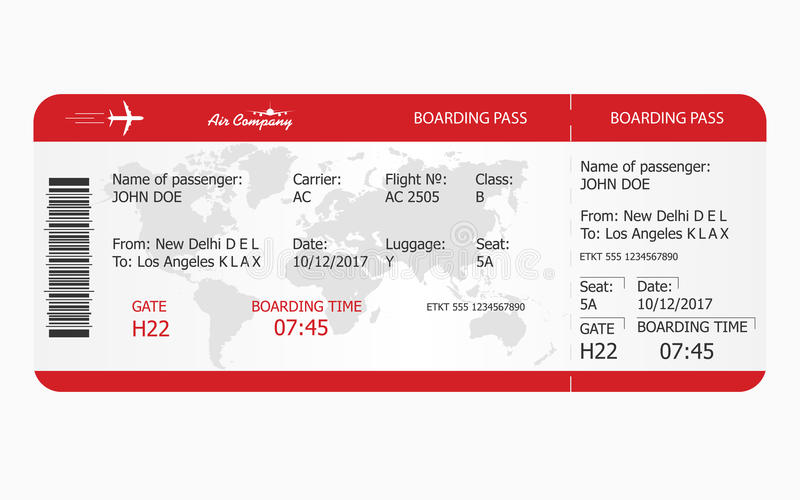 Vliegtuigkaartje Het malplaatje van het instapkaartkaartje royalty-vrije illustratie