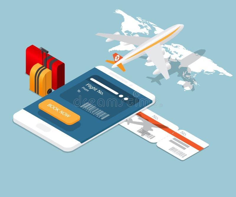 Vliegtuigkaartje het online boeken op smartphone royalty-vrije illustratie