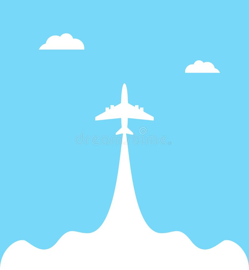 Vliegtuiglancering aan hemel tegen geïsoleerd op een blauwe achtergrond met wolken De banner van de vliegtuigvliegroute vector illustratie
