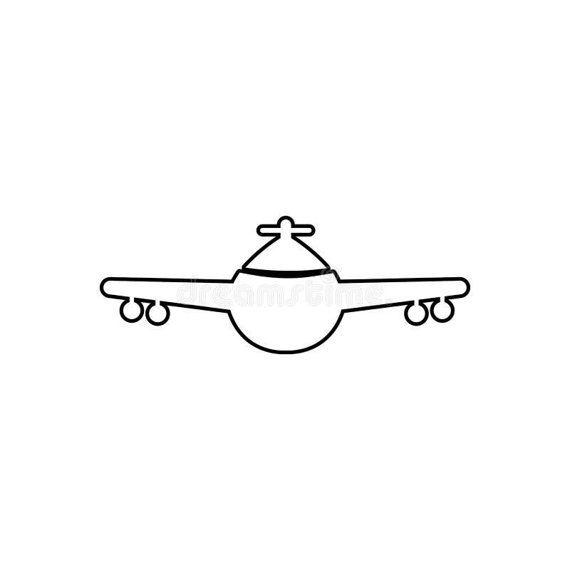 vliegtuigmening van het voorpictogram Element van vervoer voor mobiel concept en webtoepassingenpictogram Overzicht, dun lijnpict vector illustratie