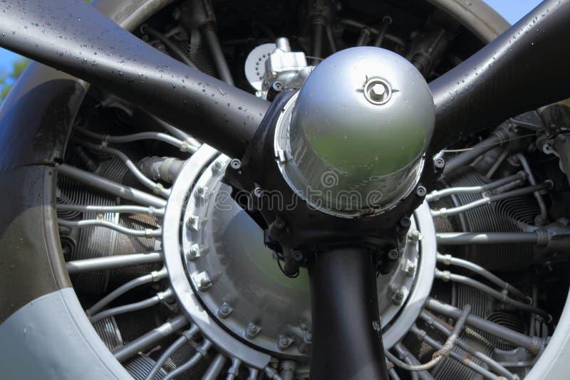 Vliegtuigmotor van C-47 van Douglas Hemeltrein, Detail, Altijdgroen Luchtvaartmuseum, Oregon royalty-vrije stock foto