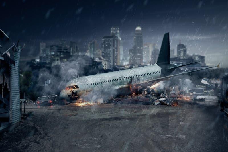 Vliegtuigneerstorting, verpletterd vliegtuig, luchtongeval stock afbeelding