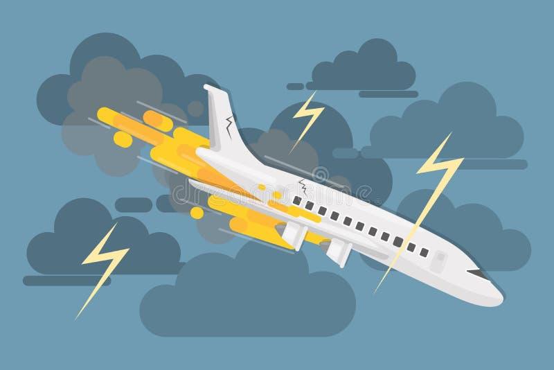 Vliegtuigneerstorting in wolken stock illustratie