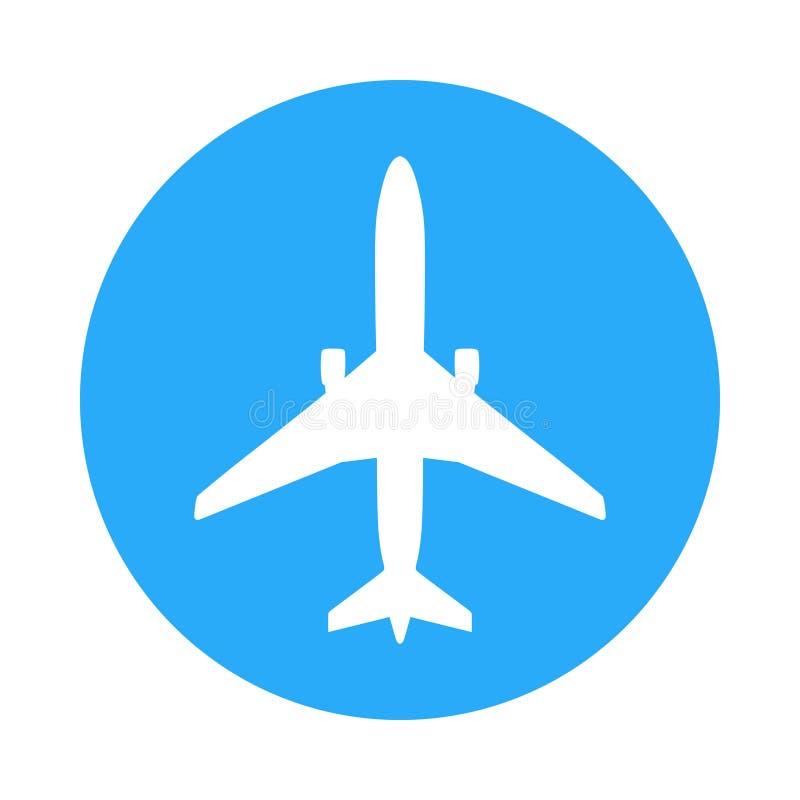 Vliegtuigpictogram op blauwe cirkel vector illustratie