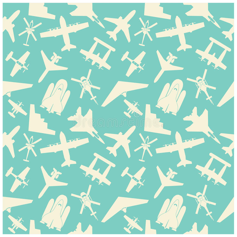 vliegtuigpictogrammen en achtergrond, patroon stock illustratie