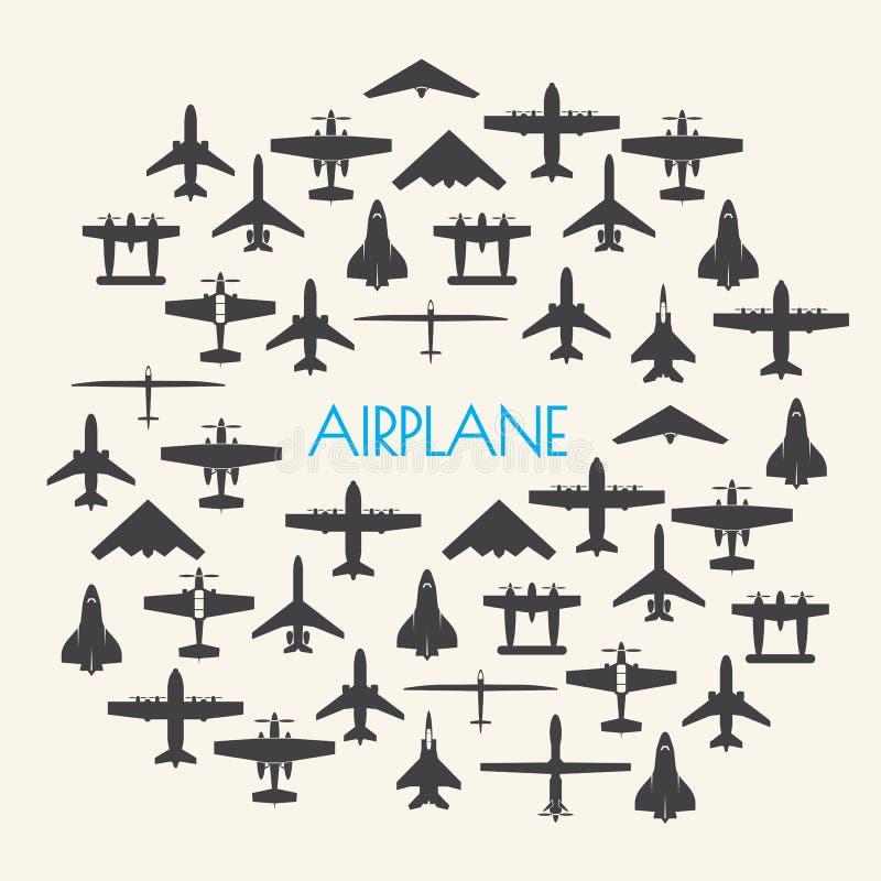 Vliegtuigpictogrammen geplaatst Achtergrond stock illustratie