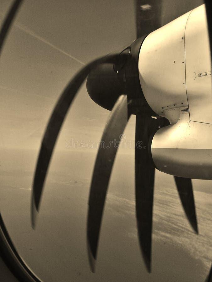 Vliegtuigpropeller tijdens de vlucht royalty-vrije stock afbeeldingen