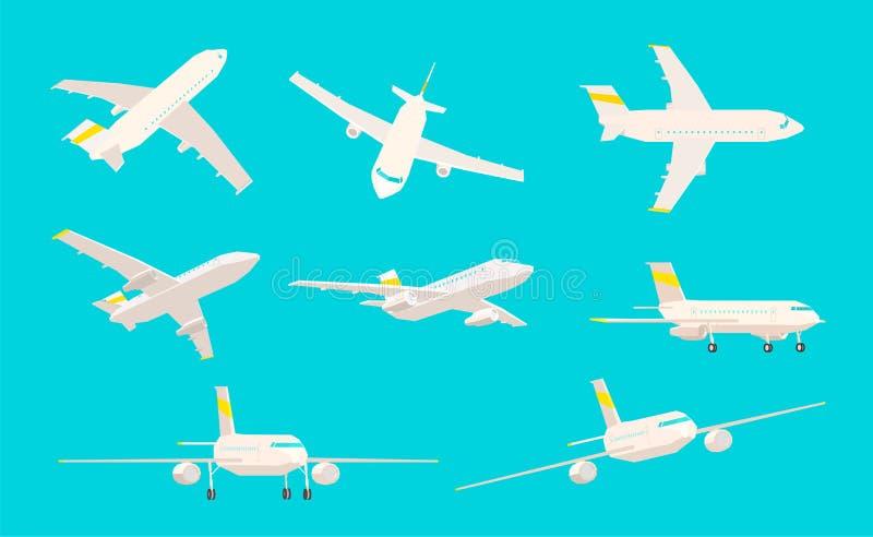 Vliegtuigreeks, verschillende hoeken van gezicht op een blauwe achtergrond, lage polyvliegtuigen vector illustratie