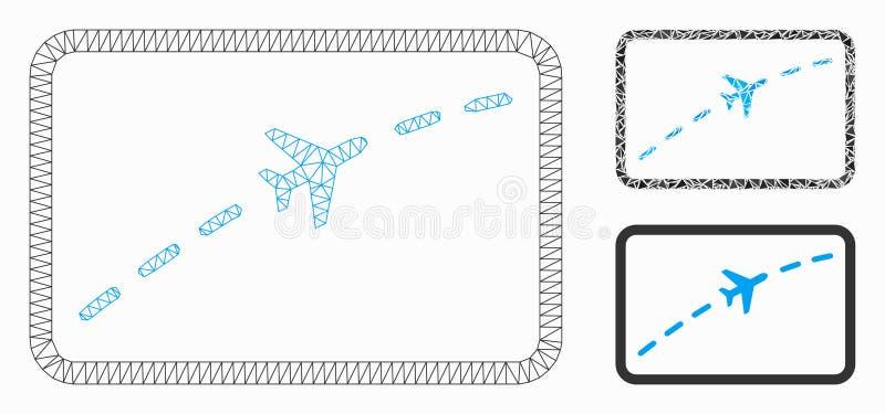 Vliegtuigroute Vector het Mozaïekpictogram van Mesh Carcass Model en van de Driehoek vector illustratie