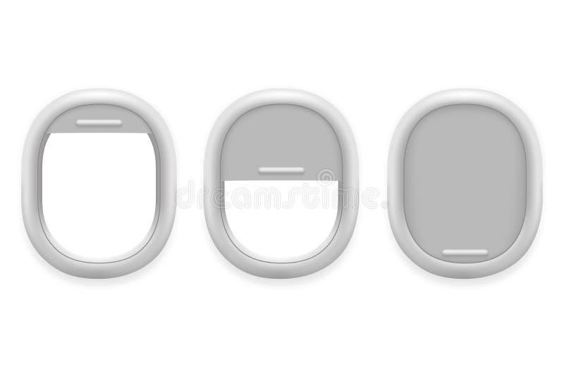 Vliegtuigvenster binnen witte plastic open realistische de ontwerpsjabloon vectorillustratie van de vliegtuigtechnologie royalty-vrije illustratie