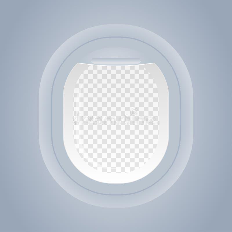 Vliegtuigvenster geïsoleerde mening van binnenuit vector vector illustratie