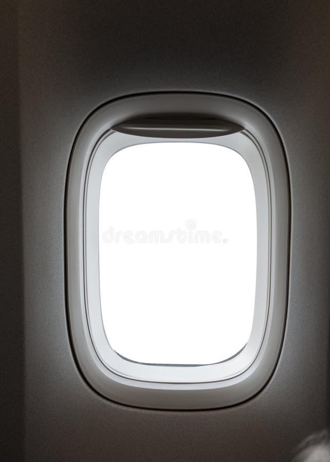 Vliegtuigvenster met witte binnen afgelegen plaats stock afbeelding
