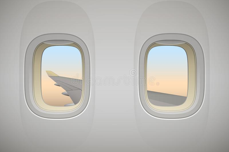 Vliegtuigvenster, vliegtuigenvenster met vleugel stock illustratie