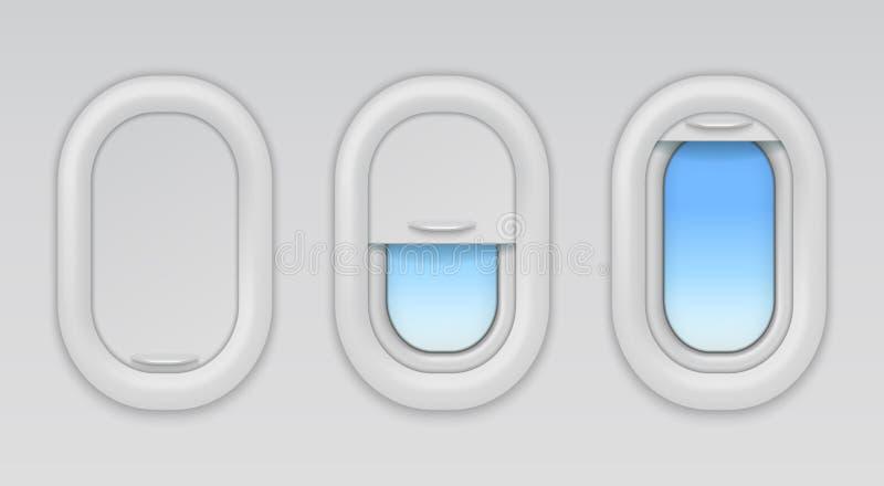 Vliegtuigvensters De vliegtuigenpatrijspoorten met blauwe hemel en fuselageachtergrond, open vector sloten en sloten half types v stock illustratie