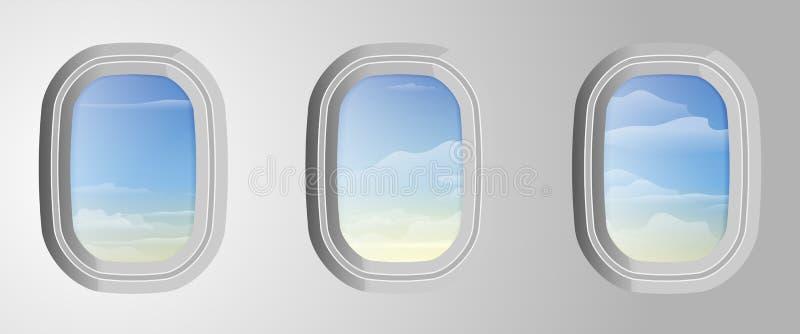 Vliegtuigvensters met bewolkte blauwe buiten hemel Mening van Airplan stock illustratie