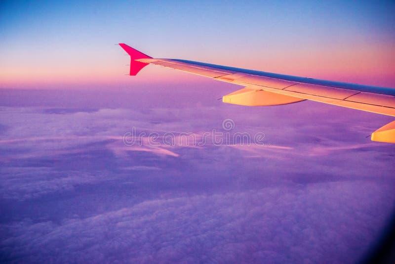 Vliegtuigvleugel bij zonsondergang stock foto