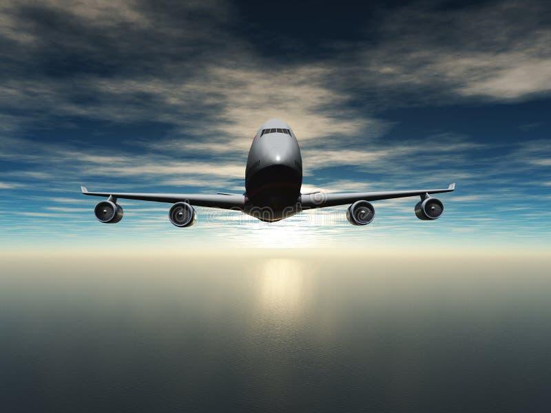Vliegtuigvliegen over de oceaan stock foto
