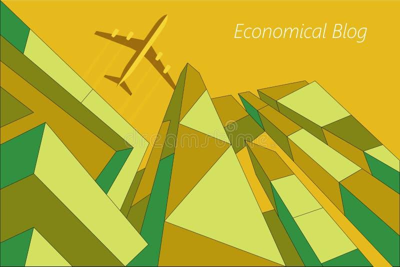 Vliegtuigvliegen over moderne high-rise gebouwen vector illustratie