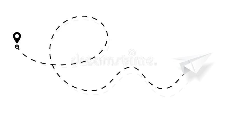 Vliegtuigweg in gestippelde, gestormde lijnvorm Route van document vliegtuig op witte achtergrond wordt geïsoleerd die Vector stock illustratie