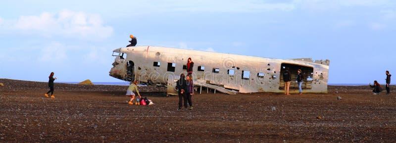 Vliegtuigwrack, IJsland stock foto