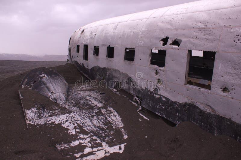 Vliegtuigwrak, IJsland stock afbeeldingen