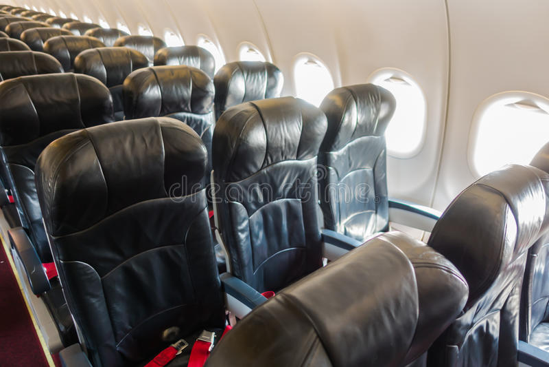 Vliegtuigzetels in de cabine royalty-vrije stock foto