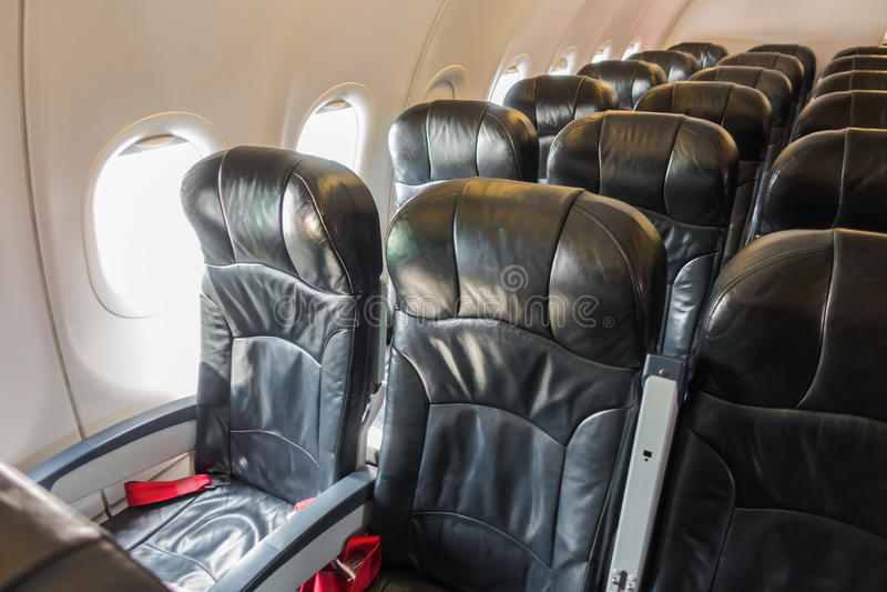 Vliegtuigzetels in de cabine royalty-vrije stock afbeeldingen