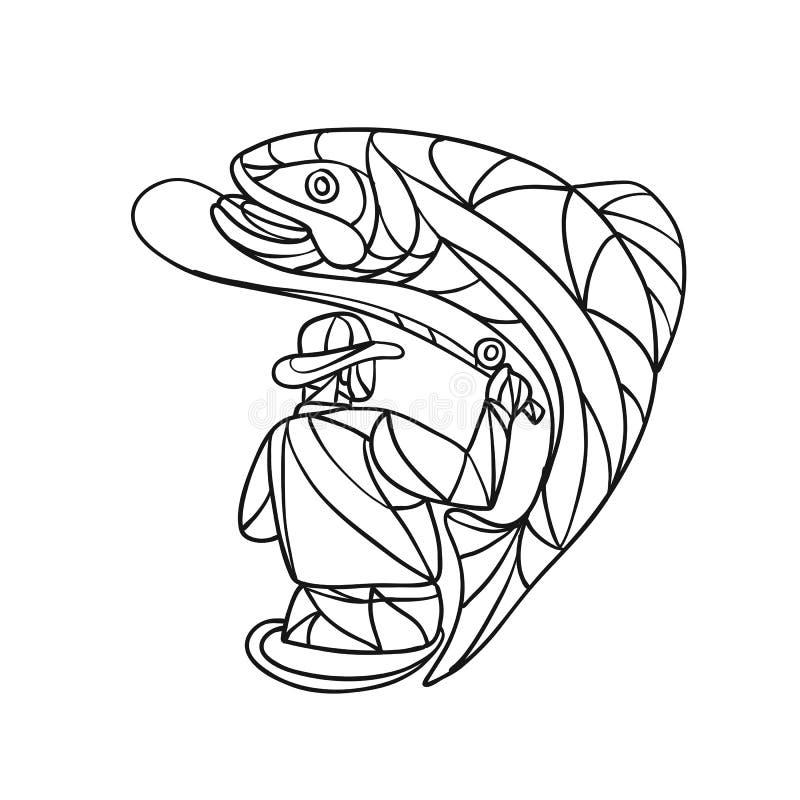 Vliegvisser Zwart-wit Catching Trout Mosaic vector illustratie