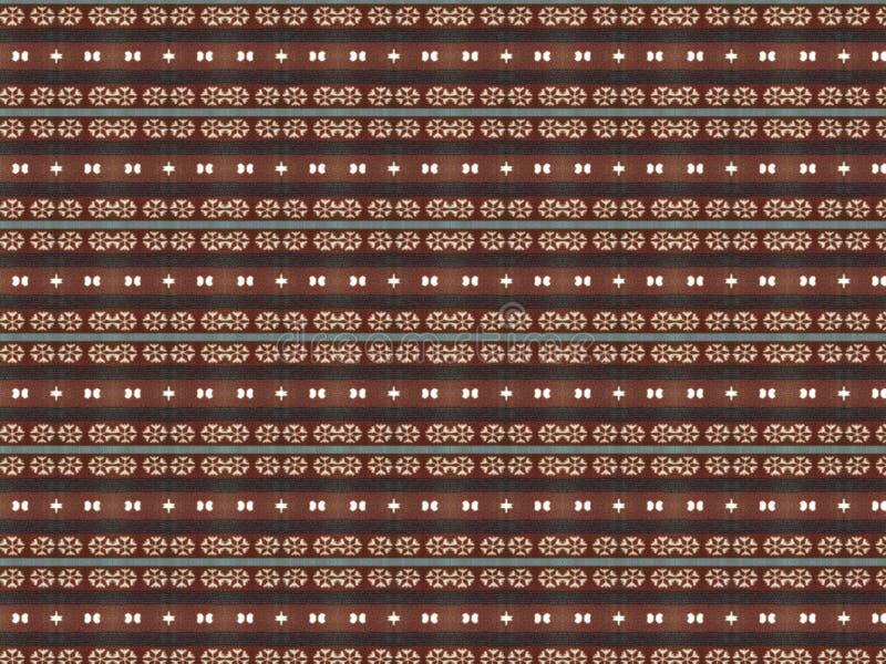 Vlieshintergrund mit dem Wiederholen von horizontalen Linien des Musters in den Schwarzweiss-Schneeflocken und im blauen Streifen vektor abbildung