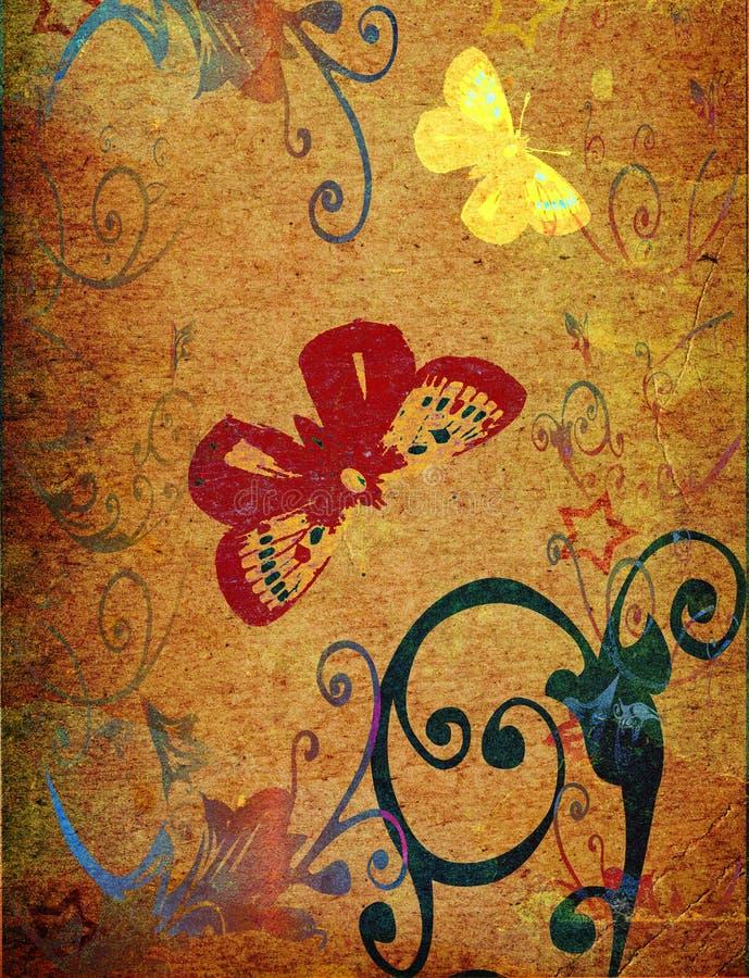 Vlinder & bloemen stock illustratie