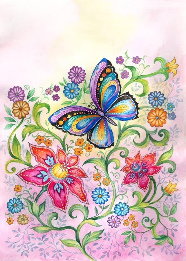 Vlinder in bloemen vector illustratie