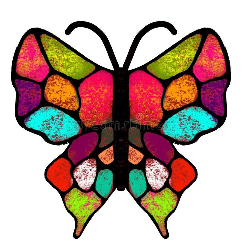 Vlinder De multi-colored, geschilderde vlinder Insectillustratie vector illustratie