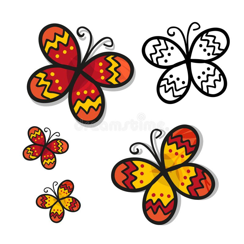 Vlinder die op witte achtergrond wordt geïsoleerdr Vector illustratie stock illustratie