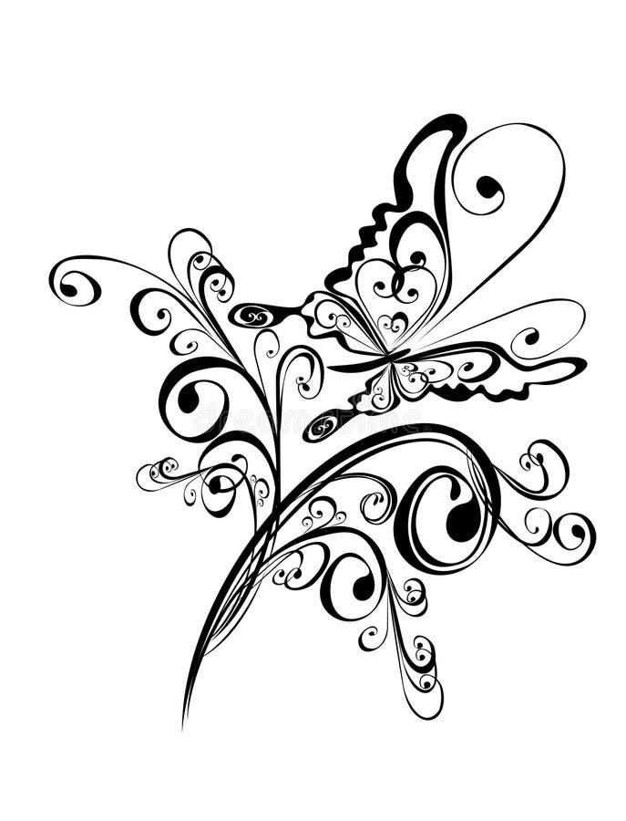 Vlinder en bloemenornament, Element voor ontwerp vector illustratie