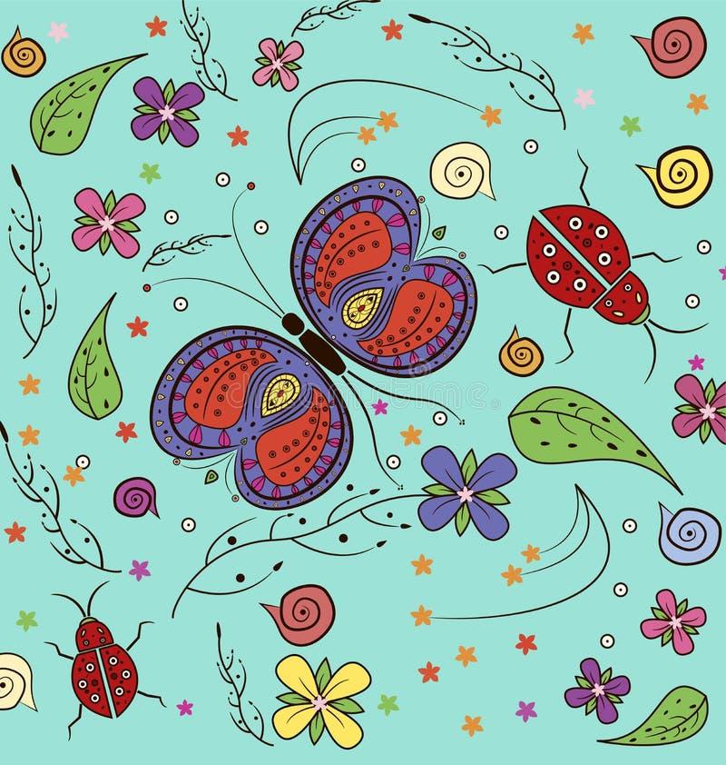 Vlinder en dameinsectenpatroon vector illustratie