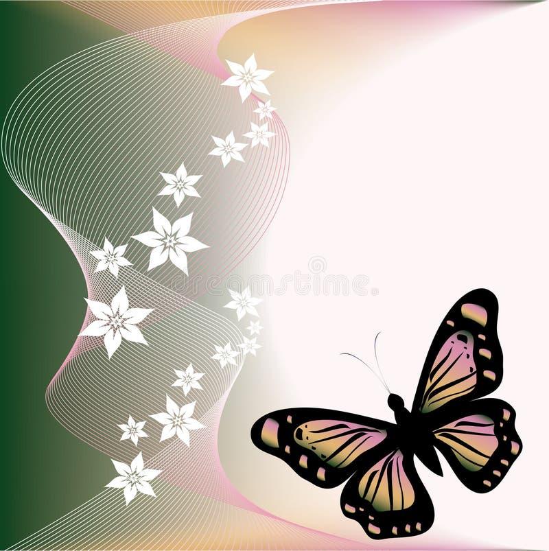 Vlinder en flover vector illustratie