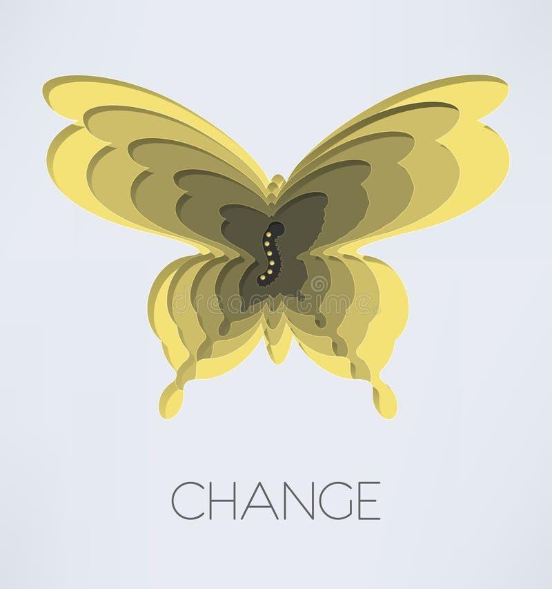 Vlinder en rupsband royalty-vrije illustratie