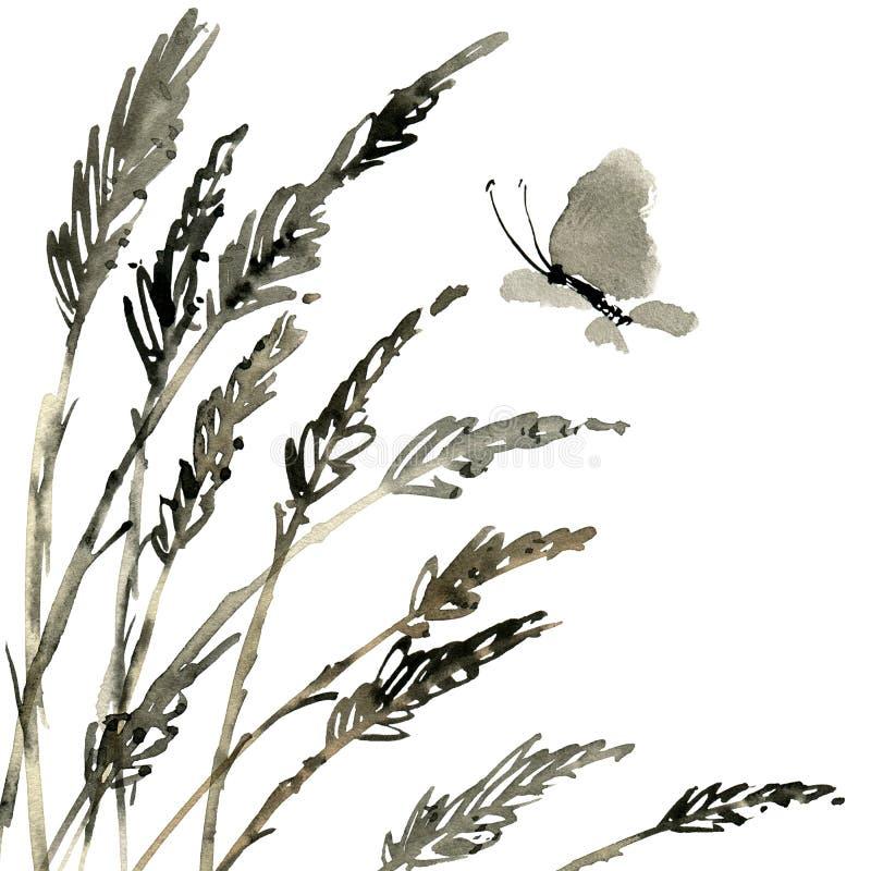 Vlinder en weidegras vector illustratie