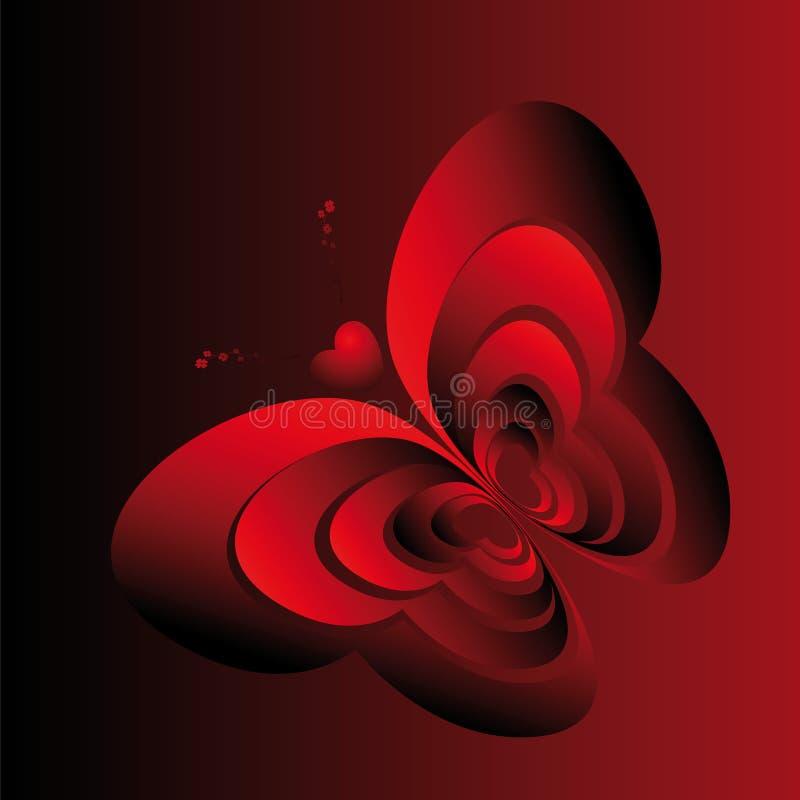 Vlinder-harten vector illustratie