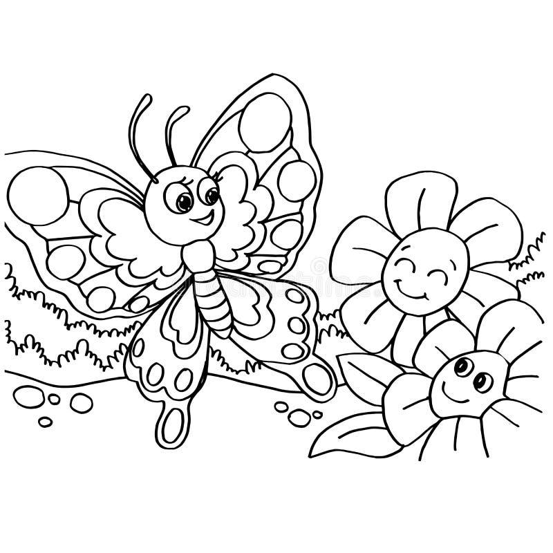 Vlinder het kleuren pagina'svector stock illustratie