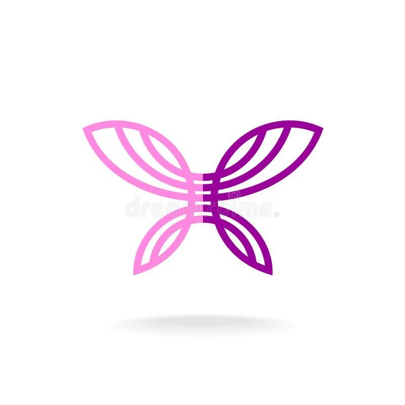 Vlinder Logo Template Het silhouet van de lijnkunst royalty-vrije illustratie
