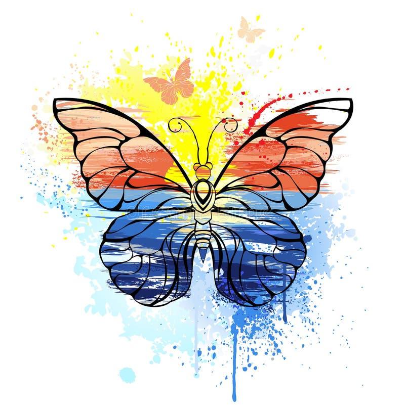 Vlinder met geschilderde overzees royalty-vrije illustratie