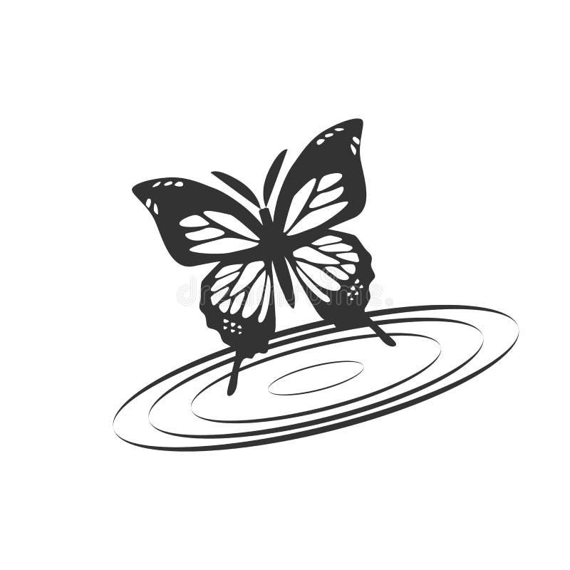 Vlinder met waterillustratie stock illustratie