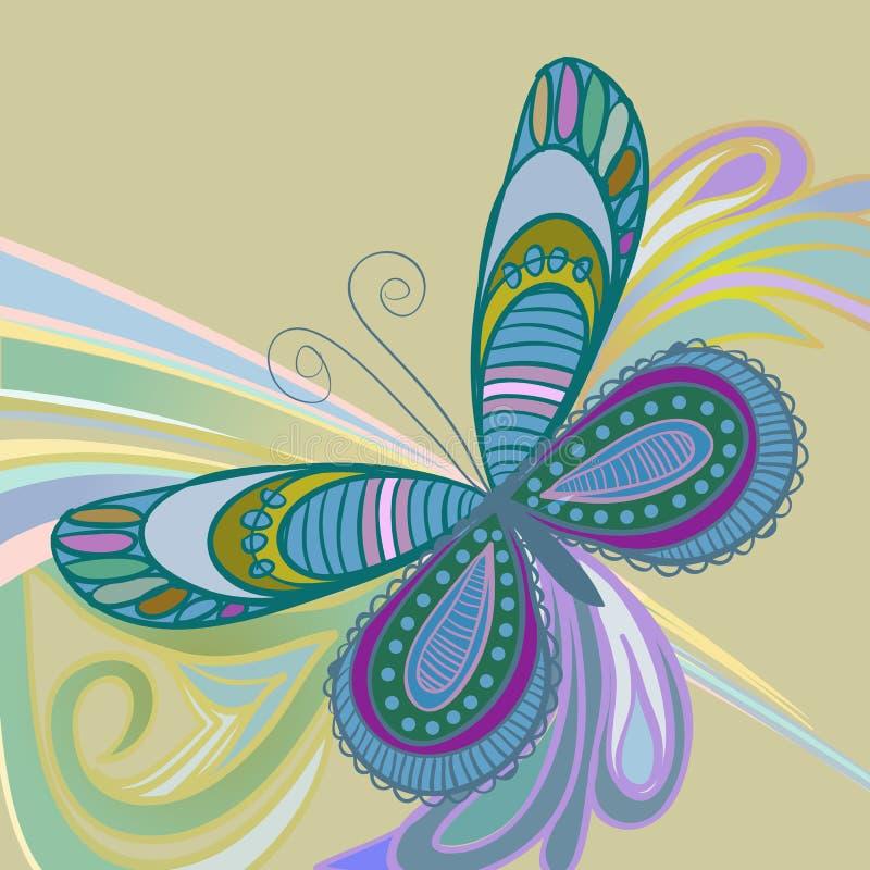 Vlinder op een abstracte achtergrond stock illustratie