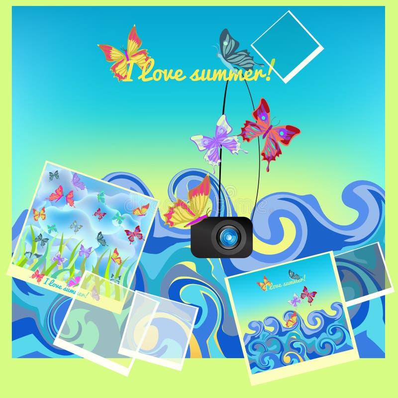 Vlinder op het overzees in de zomer Vector illustratie royalty-vrije illustratie